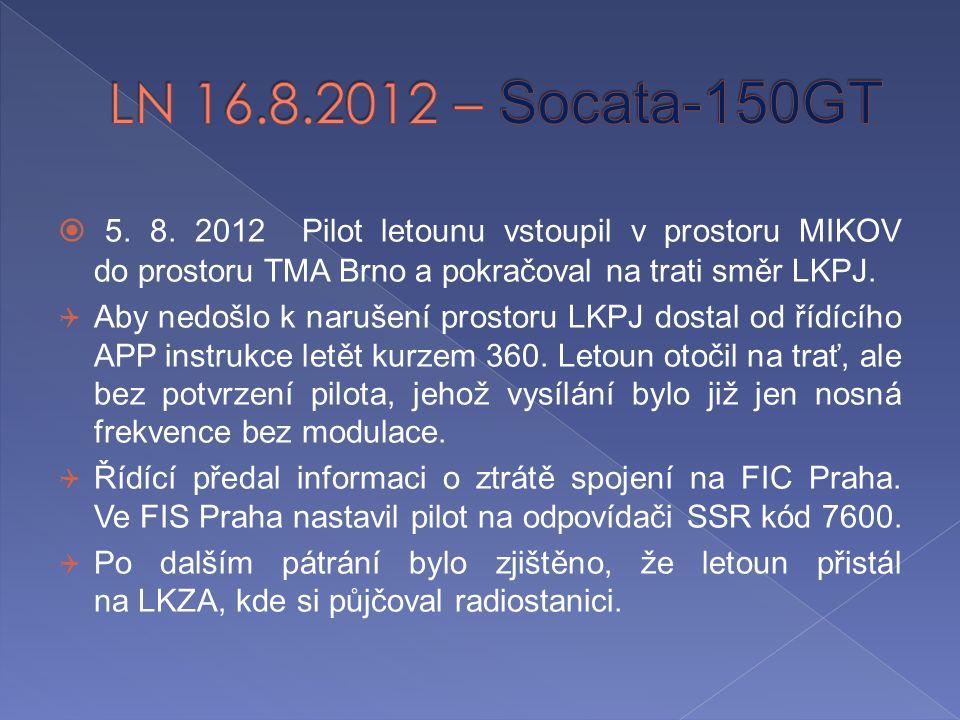  5. 8. 2012 Pilot letounu vstoupil v prostoru MIKOV do prostoru TMA Brno a pokračoval na trati směr LKPJ.  Aby nedošlo k narušení prostoru LKPJ dost