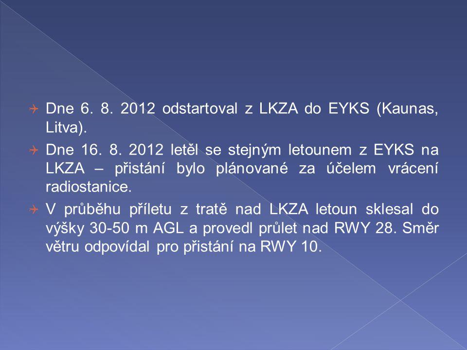  Dne 6. 8. 2012 odstartoval z LKZA do EYKS (Kaunas, Litva).  Dne 16. 8. 2012 letěl se stejným letounem z EYKS na LKZA – přistání bylo plánované za ú