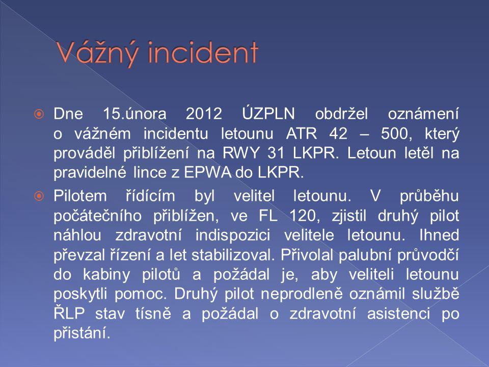  Dne 15.února 2012 ÚZPLN obdržel oznámení o vážném incidentu letounu ATR 42 – 500, který prováděl přiblížení na RWY 31 LKPR. Letoun letěl na pravidel