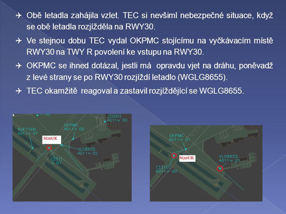  Obě letadla zahájila vzlet. TEC si nevšiml nebezpečné situace, když se obě letadla rozjížděla na RWY30.  Ve stejnou dobu TEC vydal OKPMC stojícímu