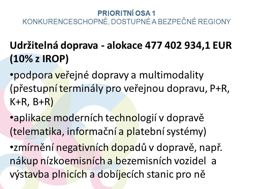 Udržitelná doprava - alokace 477 402 934,1 EUR (10% z IROP) • podpora veřejné dopravy a multimodality (přestupní terminály pro veřejnou dopravu, P+R,