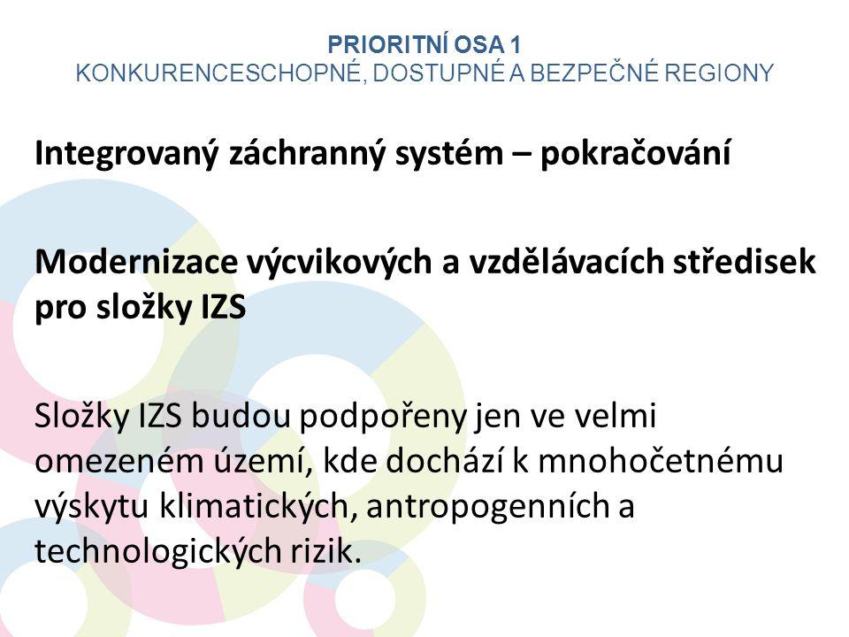 Integrovaný záchranný systém – pokračování Modernizace výcvikových a vzdělávacích středisek pro složky IZS Složky IZS budou podpořeny jen ve velmi ome