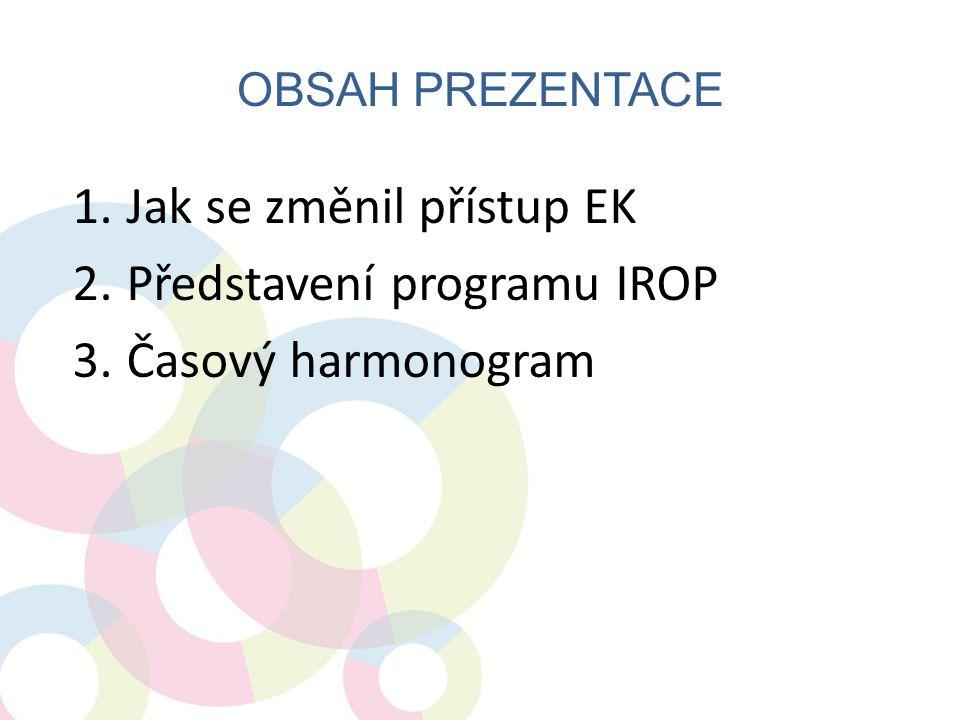 OBSAH PREZENTACE 1.Jak se změnil přístup EK 2.Představení programu IROP 3.Časový harmonogram