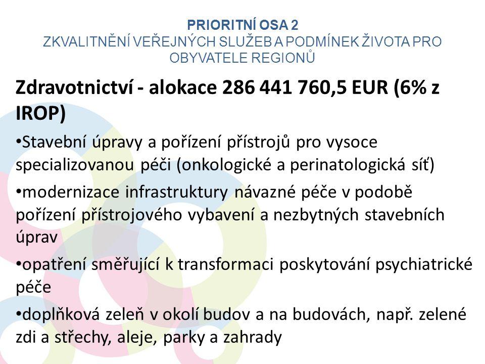 Zdravotnictví - alokace 286 441 760,5 EUR (6% z IROP) • Stavební úpravy a pořízení přístrojů pro vysoce specializovanou péči (onkologické a perinatolo