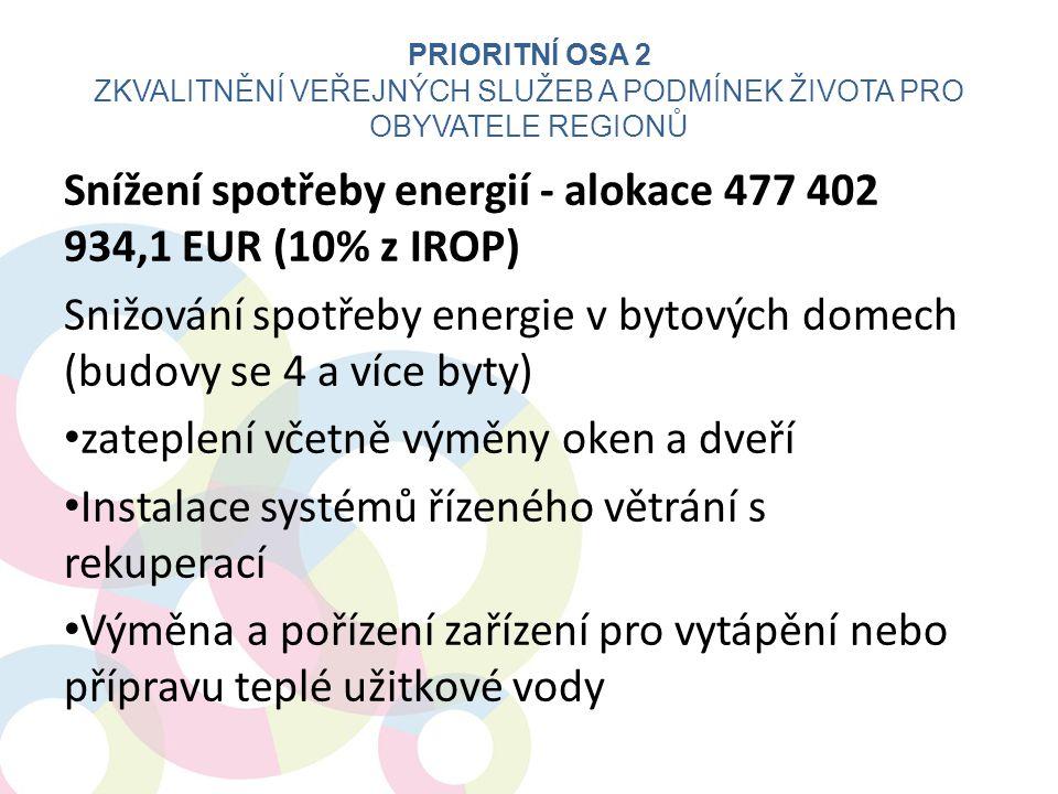 Snížení spotřeby energií - alokace 477 402 934,1 EUR (10% z IROP) Snižování spotřeby energie v bytových domech (budovy se 4 a více byty) • zateplení v
