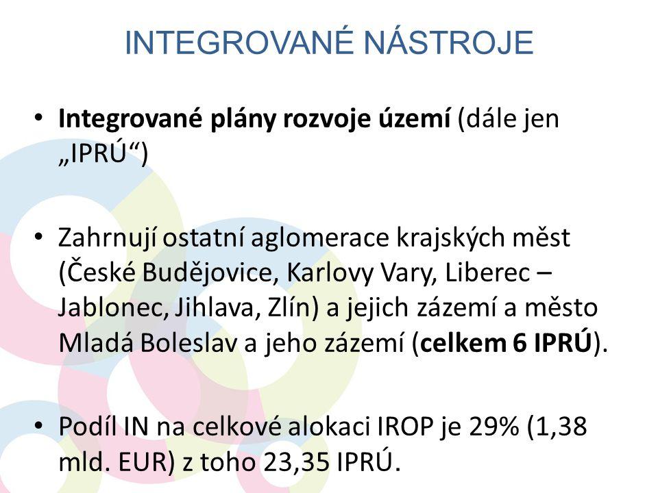 """• Integrované plány rozvoje území (dále jen """"IPRÚ"""") • Zahrnují ostatní aglomerace krajských měst (České Budějovice, Karlovy Vary, Liberec – Jablonec,"""
