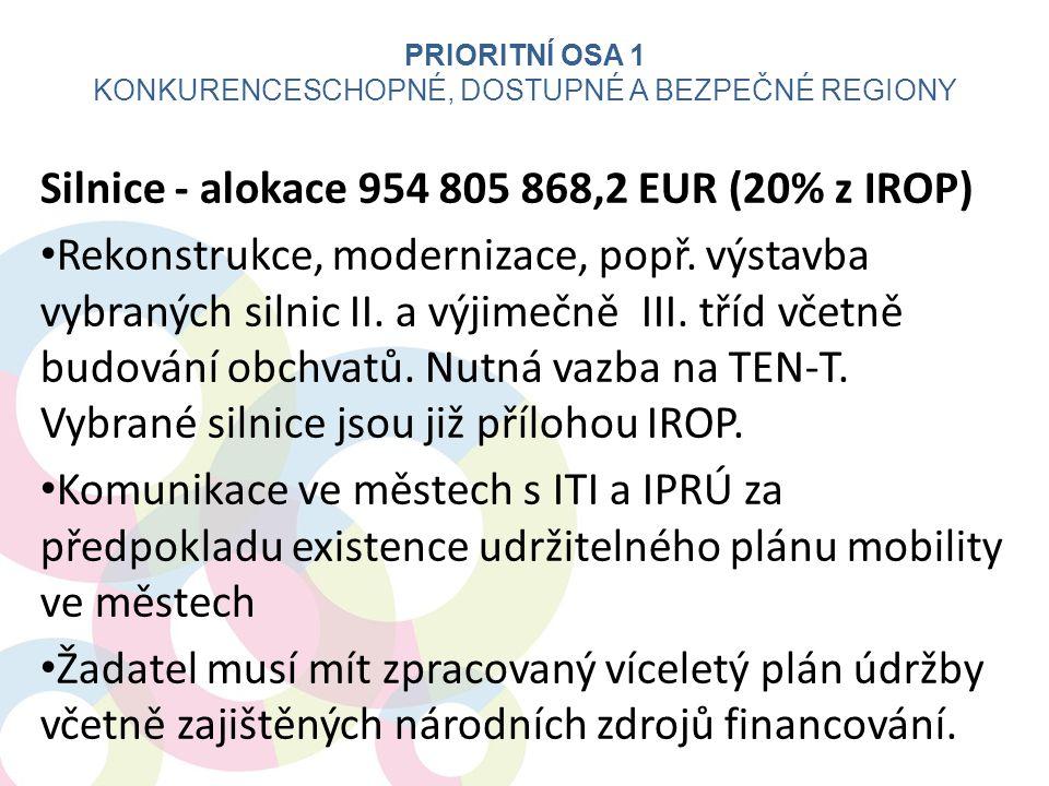 Silnice - alokace 954 805 868,2 EUR (20% z IROP) • Rekonstrukce, modernizace, popř. výstavba vybraných silnic II. a výjimečně III. tříd včetně budován