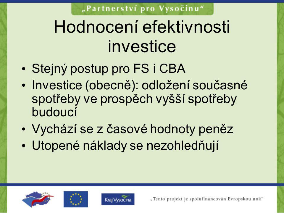 Hodnocení efektivnosti investice •S•Stejný postup pro FS i CBA •I•Investice (obecně): odložení současné spotřeby ve prospěch vyšší spotřeby budoucí •V