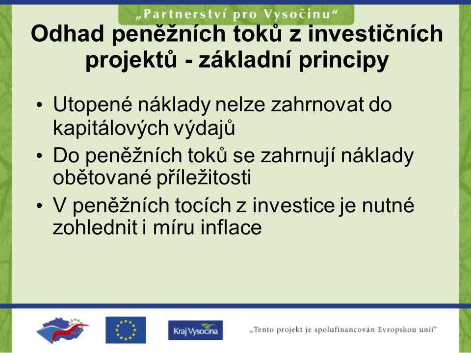 Odhad peněžních toků z investičních projektů - základní principy •U•Utopené náklady nelze zahrnovat do kapitálových výdajů •D•Do peněžních toků se zah