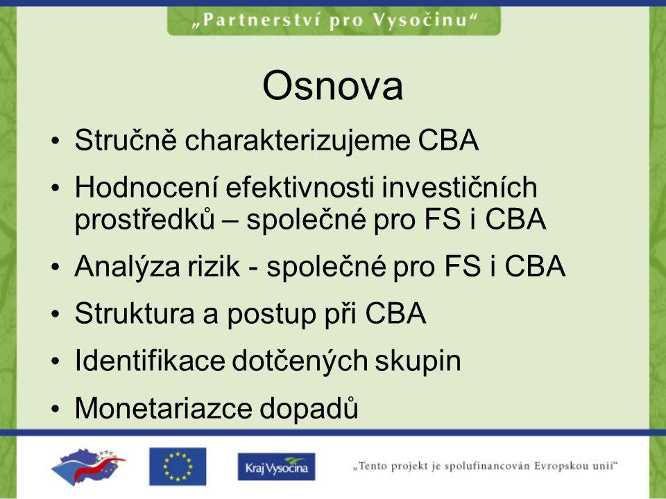 Osnova •S•Stručně charakterizujeme CBA •H•Hodnocení efektivnosti investičních prostředků – společné pro FS i CBA •A•Analýza rizik - společné pro FS i