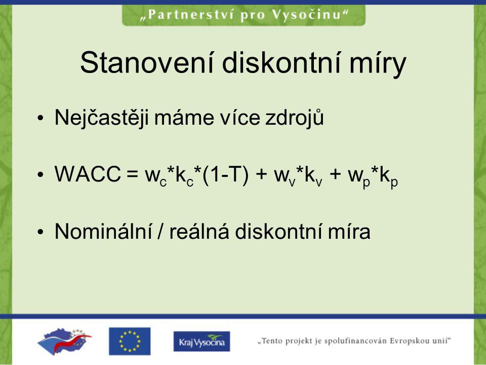 Stanovení diskontní míry •N•Nejčastěji máme více zdrojů •W•WACC = w c *k c *(1-T) + w v *k v + w p *k p •N•Nominální / reálná diskontní míra