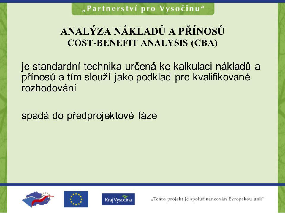 ANALÝZA NÁKLADŮ A PŘÍNOSŮ COST-BENEFIT ANALYSIS (CBA) je standardní technika určená ke kalkulaci nákladů a přínosů a tím slouží jako podklad pro kvali