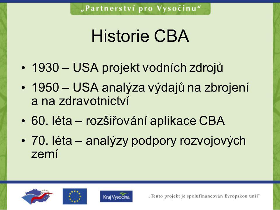 Historie CBA •1•1930 – USA projekt vodních zdrojů •1•1950 – USA analýza výdajů na zbrojení a na zdravotnictví •6•60. léta – rozšiřování aplikace CBA •
