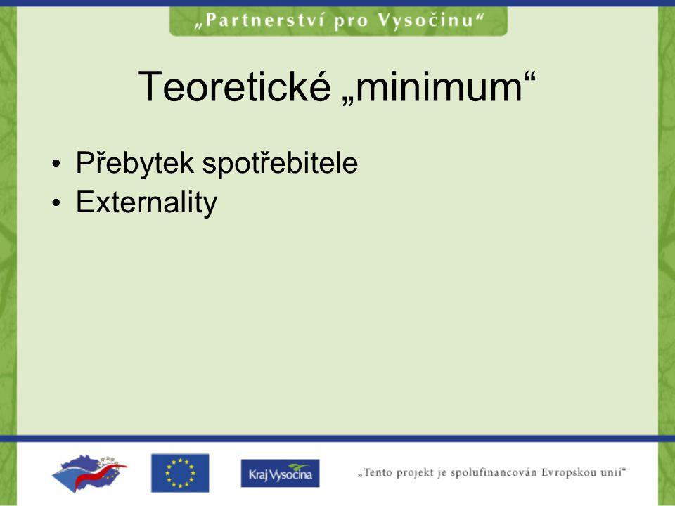 "Teoretické ""minimum"" •P•Přebytek spotřebitele •E•Externality"