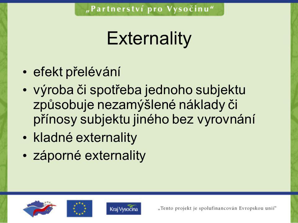 Externality •e•efekt přelévání •v•výroba či spotřeba jednoho subjektu způsobuje nezamýšlené náklady či přínosy subjektu jiného bez vyrovnání •k•kladné