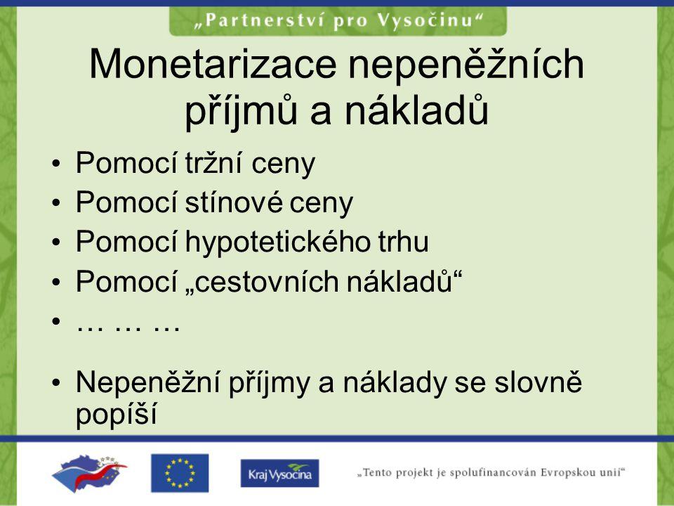 """Monetarizace nepeněžních příjmů a nákladů •P•Pomocí tržní ceny •P•Pomocí stínové ceny •P•Pomocí hypotetického trhu •P•Pomocí """"cestovních nákladů"""" •…•…"""