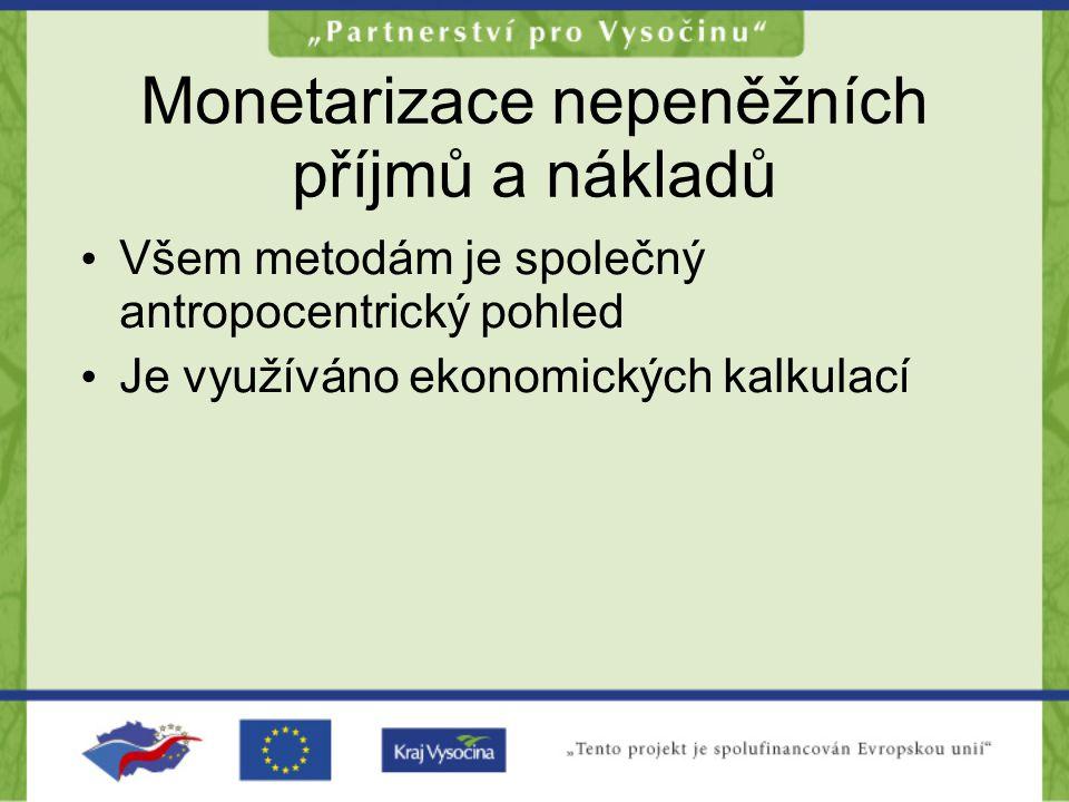 Monetarizace nepeněžních příjmů a nákladů •V•Všem metodám je společný antropocentrický pohled •J•Je využíváno ekonomických kalkulací