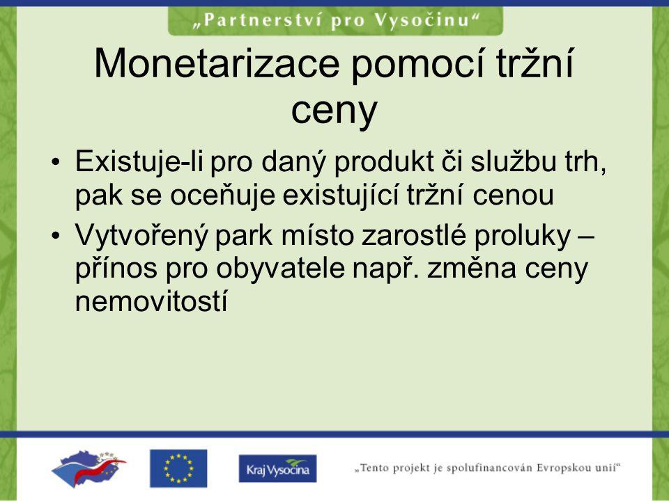 Monetarizace pomocí tržní ceny •E•Existuje-li pro daný produkt či službu trh, pak se oceňuje existující tržní cenou •V•Vytvořený park místo zarostlé p