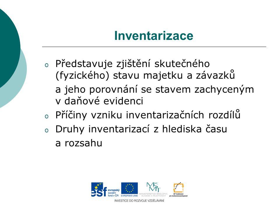 Inventarizace o Představuje zjištění skutečného (fyzického) stavu majetku a závazků a jeho porovnání se stavem zachyceným v daňové evidenci o Příčiny