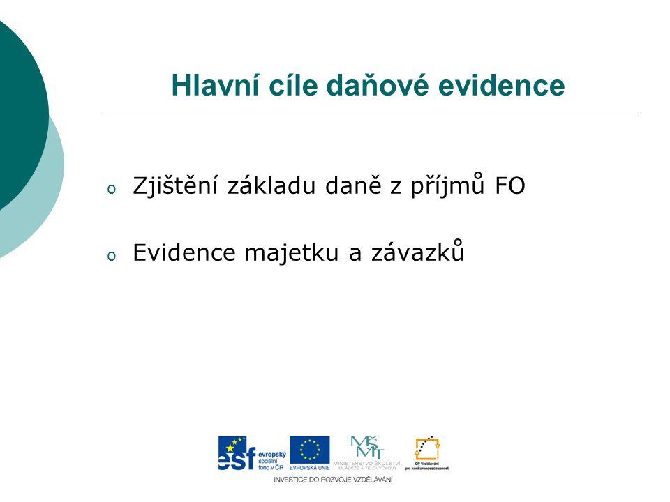 Hlavní cíle daňové evidence o Zjištění základu daně z příjmů FO o Evidence majetku a závazků