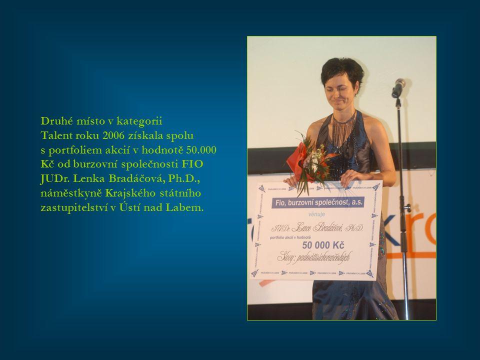 Druhé místo v kategorii Talent roku 2006 získala spolu s portfoliem akcií v hodnotě 50.000 Kč od burzovní společnosti FIO JUDr. Lenka Bradáčová, Ph.D.