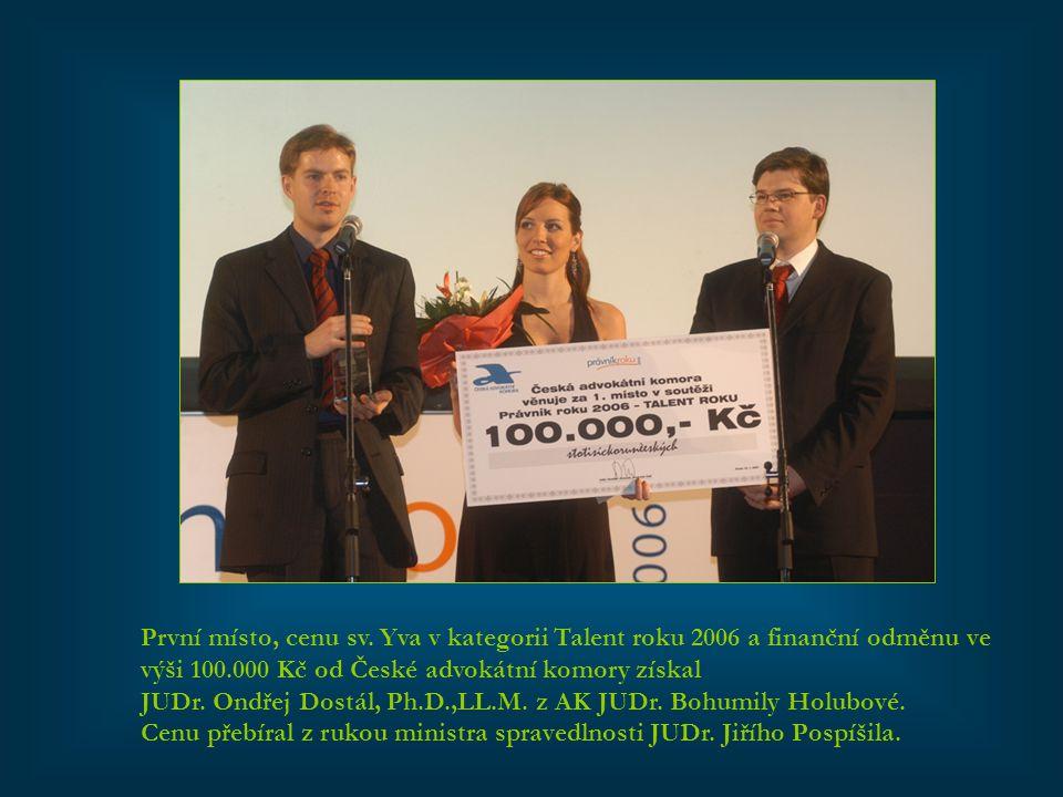 První místo, cenu sv. Yva v kategorii Talent roku 2006 a finanční odměnu ve výši 100.000 Kč od České advokátní komory získal JUDr. Ondřej Dostál, Ph.D