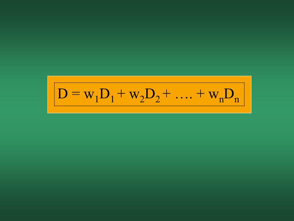 D = w 1 D 1 + w 2 D 2 + …. + w n D n