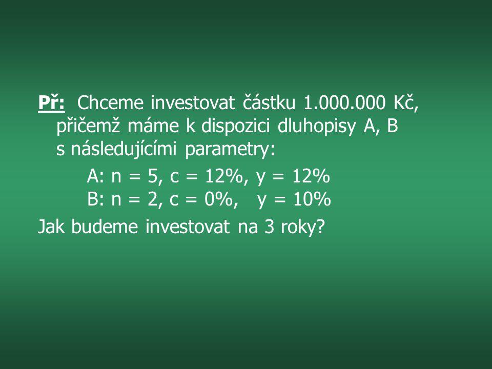 Př: Chceme investovat částku 1.000.000 Kč, přičemž máme k dispozici dluhopisy A, B s následujícími parametry: A: n = 5, c = 12%, y = 12% B: n = 2, c = 0%, y = 10% Jak budeme investovat na 3 roky?