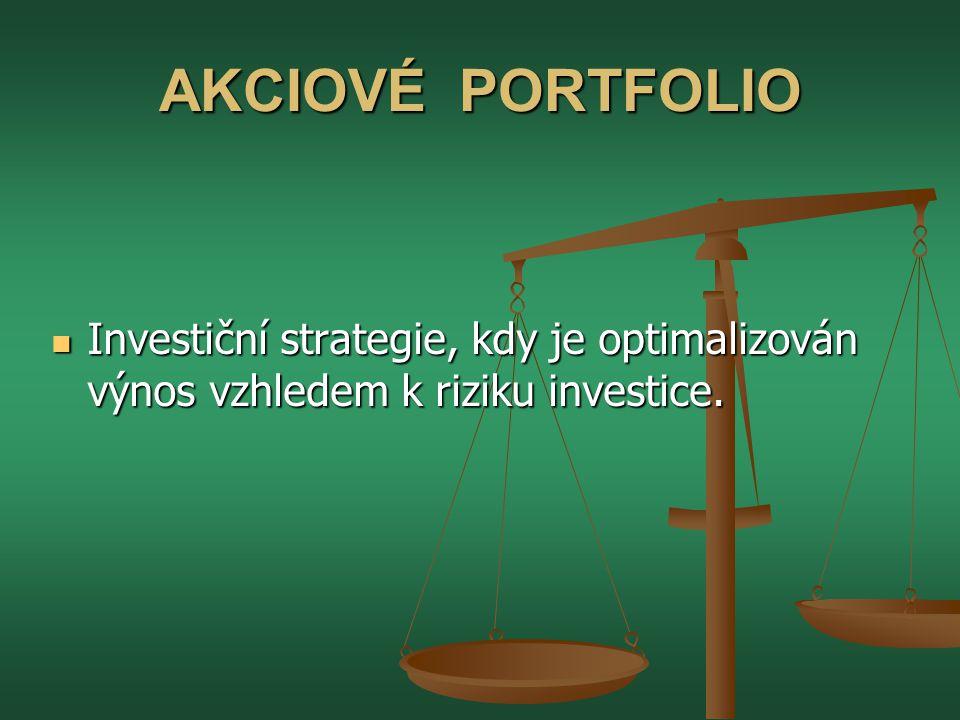 AKCIOVÉ PORTFOLIO  Investiční strategie, kdy je optimalizován výnos vzhledem k riziku investice.