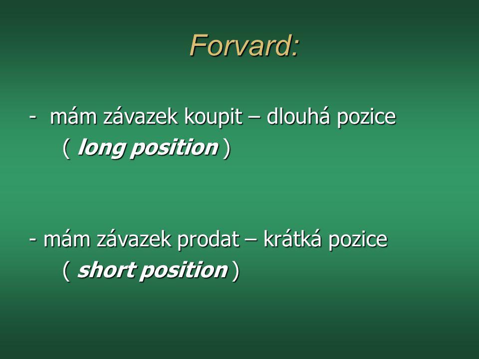 Forvard: Forvard: - mám závazek koupit – dlouhá pozice ( long position ) ( long position ) - mám závazek prodat – krátká pozice ( short position ) ( short position )