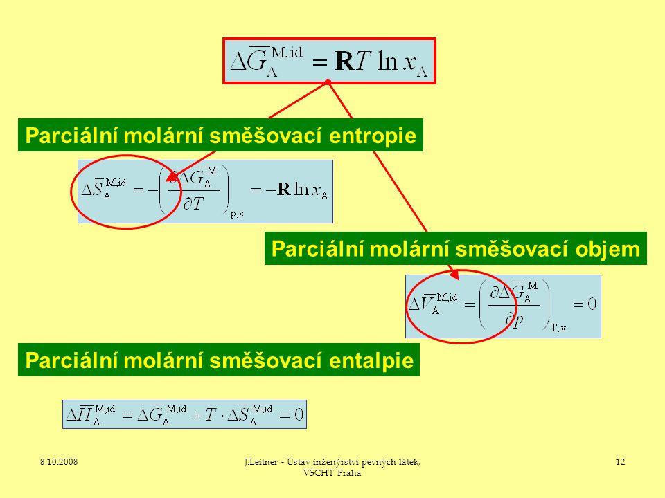 8.10.2008J.Leitner - Ústav inženýrství pevných látek, VŠCHT Praha 12 Parciální molární směšovací entalpie Parciální molární směšovací objem Parciální molární směšovací entropie