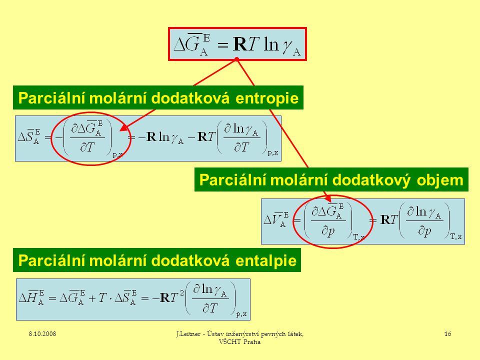 8.10.2008J.Leitner - Ústav inženýrství pevných látek, VŠCHT Praha 16 Parciální molární dodatková entalpie Parciální molární dodatkový objem Parciální molární dodatková entropie
