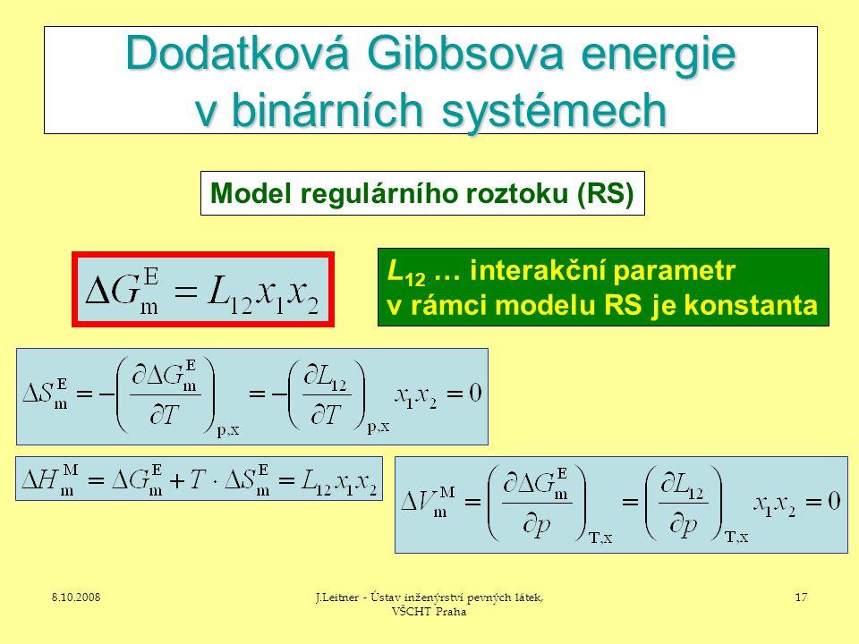 8.10.2008J.Leitner - Ústav inženýrství pevných látek, VŠCHT Praha 17 Dodatková Gibbsova energie v binárních systémech Model regulárního roztoku (RS) L