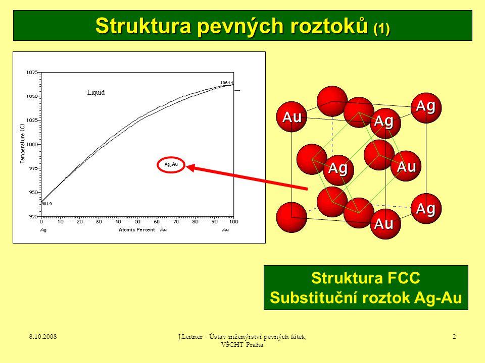 8.10.2008J.Leitner - Ústav inženýrství pevných látek, VŠCHT Praha 2 Struktura pevných roztoků (1) Struktura FCC Substituční roztok Ag-Au Ag AuAuAuAu AuAuAuAu AuAuAuAu Ag Ag Ag