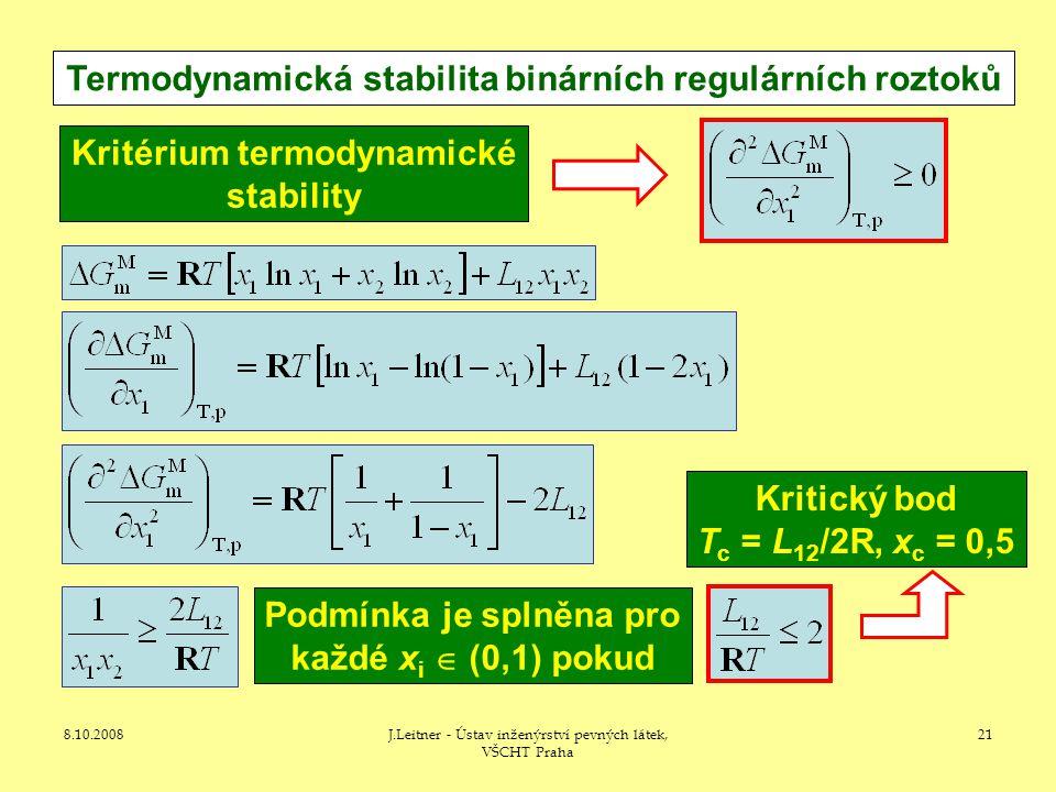 8.10.2008J.Leitner - Ústav inženýrství pevných látek, VŠCHT Praha 21 Termodynamická stabilita binárních regulárních roztoků Kritérium termodynamické stability Podmínka je splněna pro každé x i  (0,1) pokud Kritický bod T c = L 12 /2R, x c = 0,5