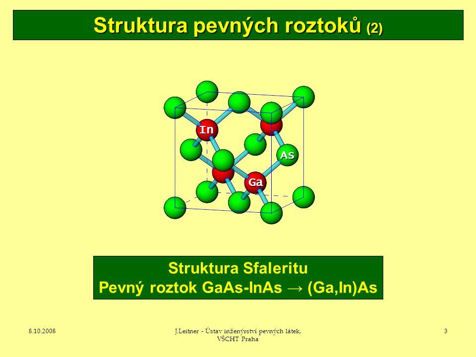 8.10.2008J.Leitner - Ústav inženýrství pevných látek, VŠCHT Praha 3 Struktura Sfaleritu Pevný roztok GaAs-InAs → (Ga,In)As In AsAsAsAs Ga Struktura pevných roztoků (2)