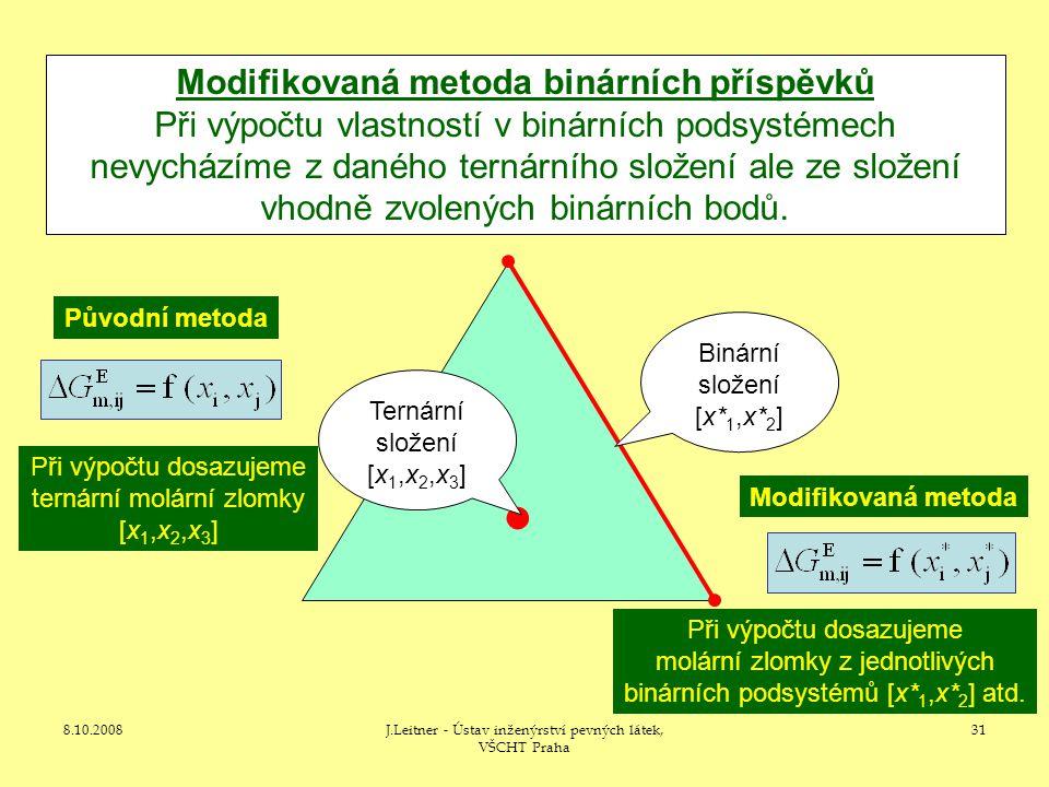 8.10.2008J.Leitner - Ústav inženýrství pevných látek, VŠCHT Praha 31 Modifikovaná metoda binárních příspěvků Při výpočtu vlastností v binárních podsystémech nevycházíme z daného ternárního složení ale ze složení vhodně zvolených binárních bodů.