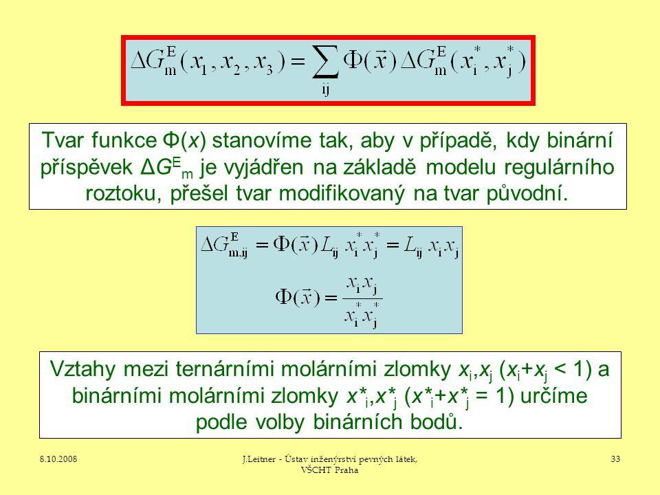 8.10.2008J.Leitner - Ústav inženýrství pevných látek, VŠCHT Praha 33 Tvar funkce Φ(x) stanovíme tak, aby v případě, kdy binární příspěvek ΔG E m je vyjádřen na základě modelu regulárního roztoku, přešel tvar modifikovaný na tvar původní.