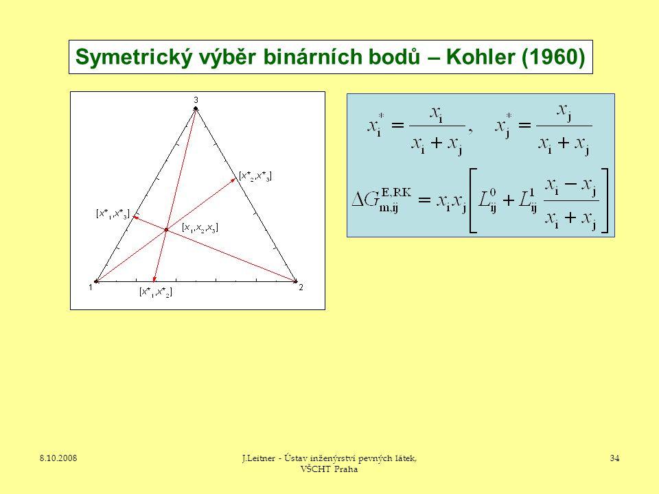 8.10.2008J.Leitner - Ústav inženýrství pevných látek, VŠCHT Praha 34 Symetrický výběr binárních bodů – Kohler (1960)