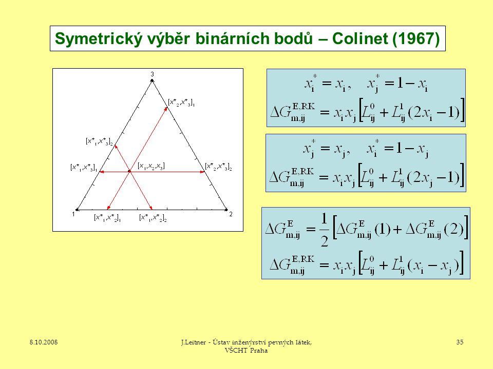 8.10.2008J.Leitner - Ústav inženýrství pevných látek, VŠCHT Praha 35 Symetrický výběr binárních bodů – Colinet (1967)