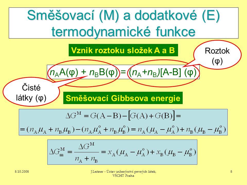 8.10.2008J.Leitner - Ústav inženýrství pevných látek, VŠCHT Praha 8 Směšovací (M) a dodatkové (E) termodynamické funkce n A A(φ) + n B B(φ) = (n A +n B )[A-B] (φ) Roztok (φ) Čisté látky (φ) Vznik roztoku složek A a B Směšovací Gibbsova energie