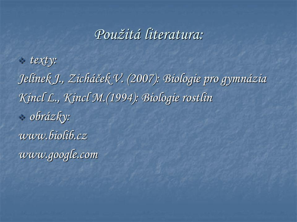 Použitá literatura:  texty: Jelínek J., Zicháček V. (2007): Biologie pro gymnázia Kincl L., Kincl M.(1994): Biologie rostlin  obrázky: www.biolib.cz