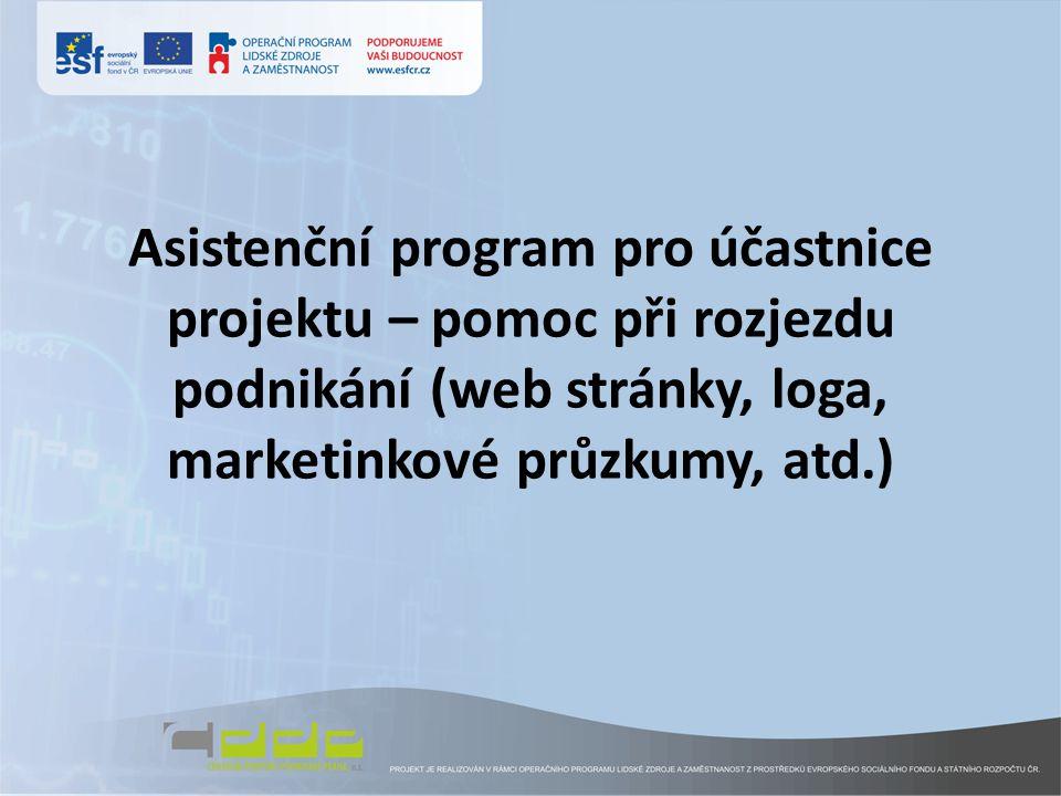 Asistenční program pro účastnice projektu – pomoc při rozjezdu podnikání (web stránky, loga, marketinkové průzkumy, atd.)