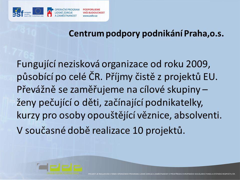 Centrum podpory podnikání Praha,o.s. Fungující nezisková organizace od roku 2009, působící po celé ČR. Příjmy čistě z projektů EU. Převážně se zaměřuj