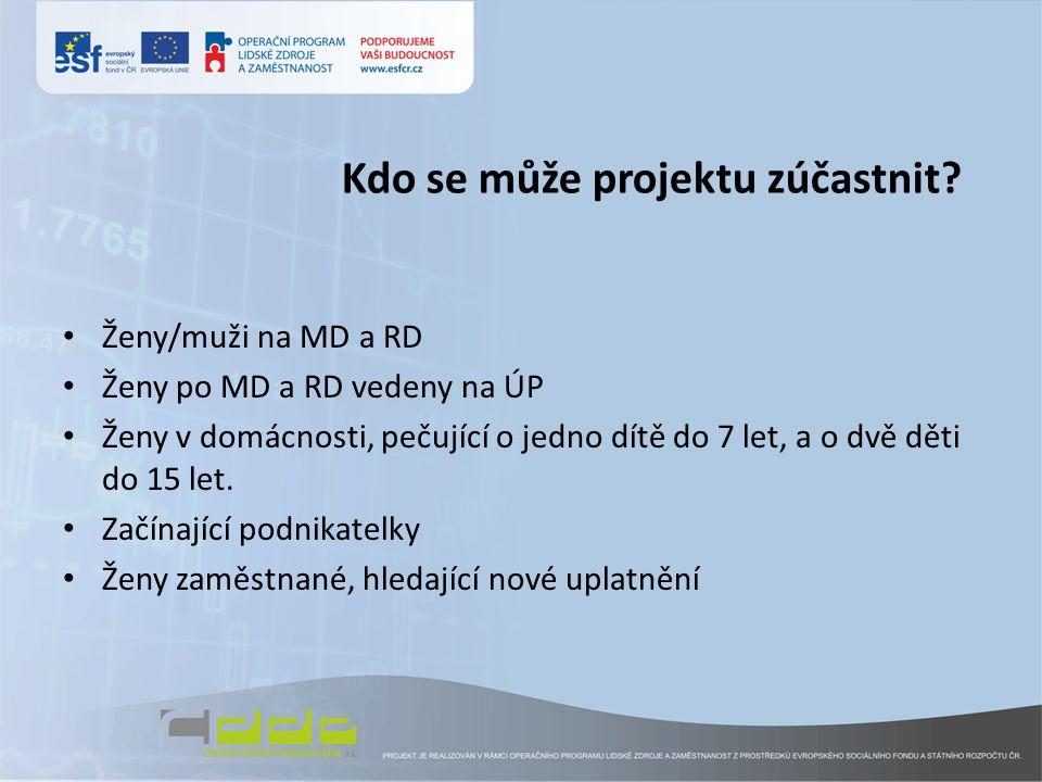 Kdo se může projektu zúčastnit? • Ženy/muži na MD a RD • Ženy po MD a RD vedeny na ÚP • Ženy v domácnosti, pečující o jedno dítě do 7 let, a o dvě dět