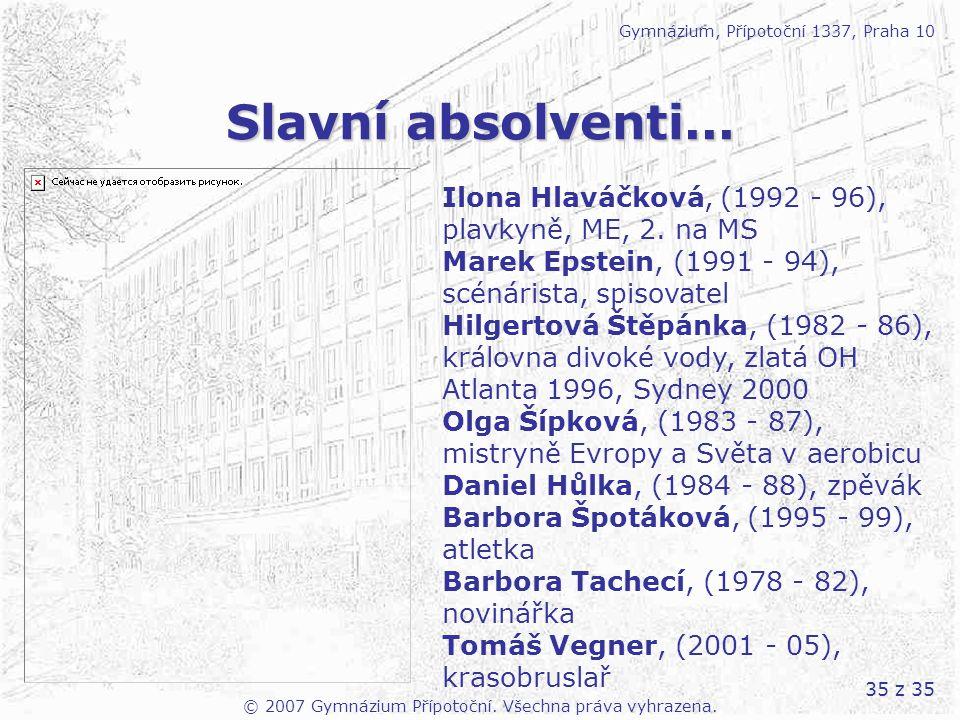 35 z 35 Slavní absolventi... Gymnázium, Přípotoční 1337, Praha 10 Ilona Hlaváčková, (1992 - 96), plavkyně, ME, 2. na MS Marek Epstein, (1991 - 94), sc