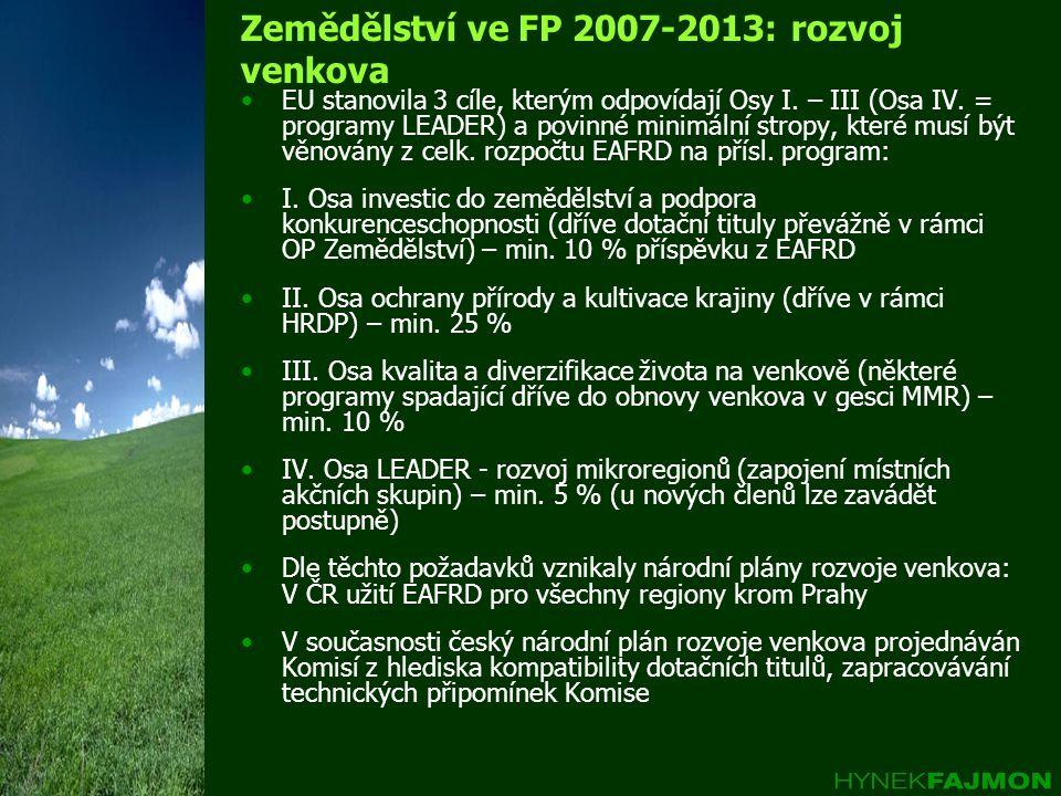 Zemědělství ve FP 2007-2013: rozvoj venkova •EU stanovila 3 cíle, kterým odpovídají Osy I. – III (Osa IV. = programy LEADER) a povinné minimální strop
