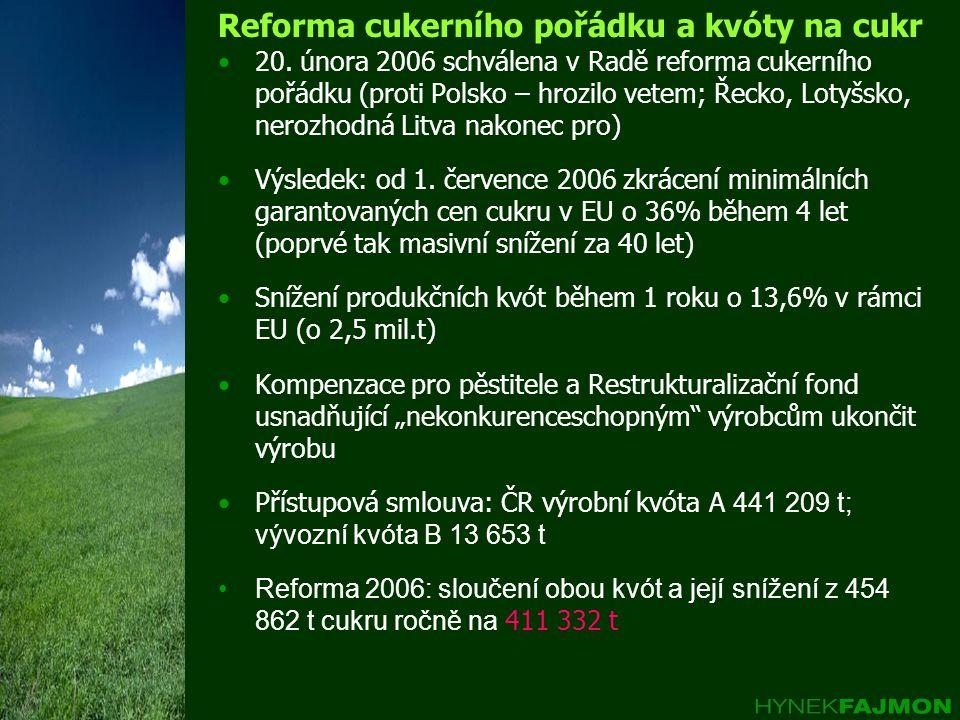 Reforma cukerního pořádku a kvóty na cukr •20. února 2006 schválena v Radě reforma cukerního pořádku (proti Polsko – hrozilo vetem; Řecko, Lotyšsko, n