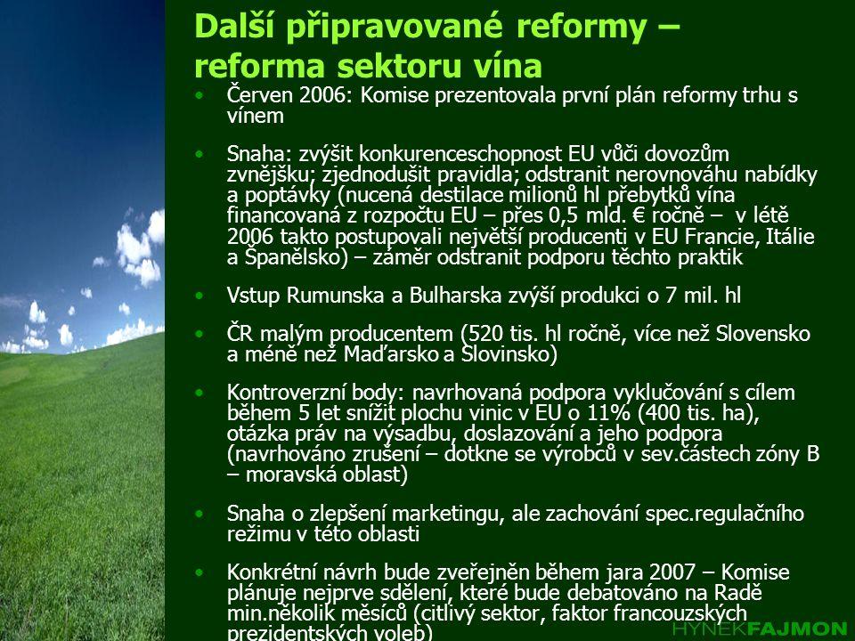 Další připravované reformy – reforma sektoru vína •Červen 2006: Komise prezentovala první plán reformy trhu s vínem •Snaha: zvýšit konkurenceschopnost