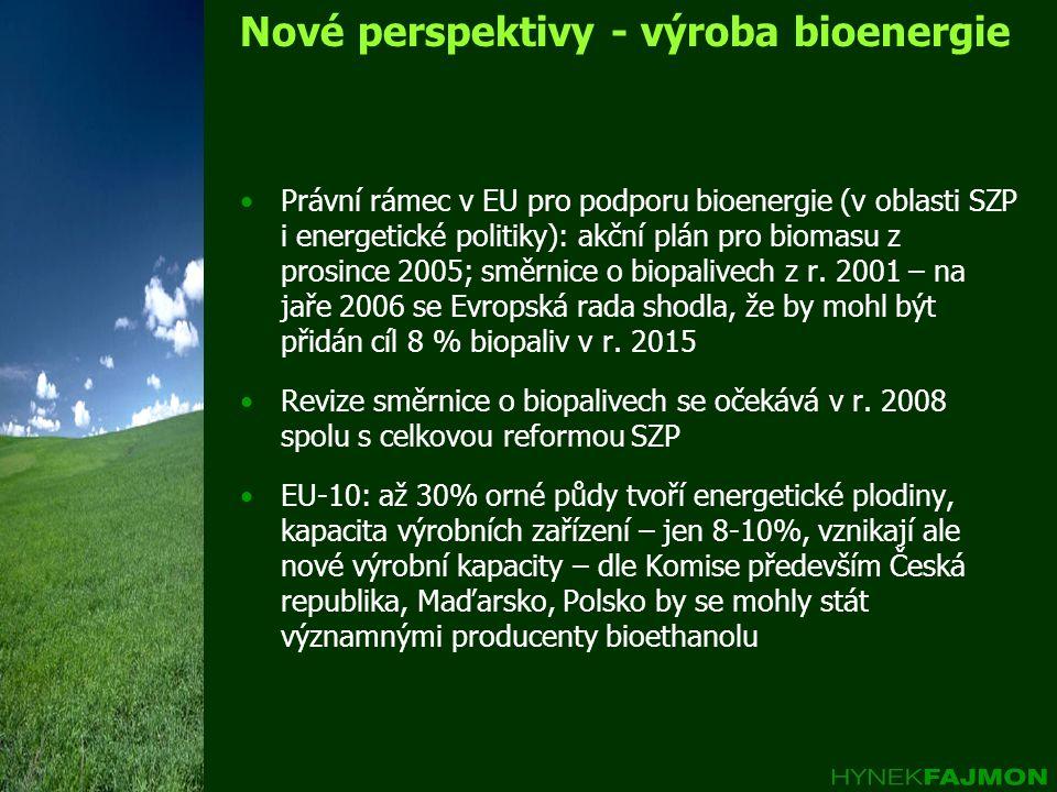 Nové perspektivy - výroba bioenergie •Právní rámec v EU pro podporu bioenergie (v oblasti SZP i energetické politiky): akční plán pro biomasu z prosin